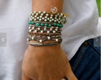 Mint crochet multi wrap bracelet - 'Daisy' beach surfer girl, summer jewelry, crochet wrap jewellery by mollymoojewels