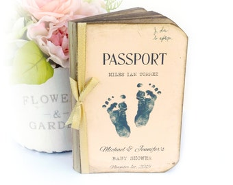 Custom Baby Shower Guest Book, Advice for Mom and Dad, Passport Guest Book, Travel Baby Shower, Baby Feet, Personalized, Wishes for New Baby