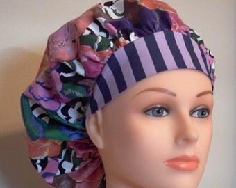 Sharp print with strip brim Bouffant Surgical Hat