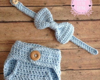Crochet Baby Set, Diaper cover Bow tie set, Diaper Cover for Boy, Crochet Bow Tie, Baby Boy Photo Prop