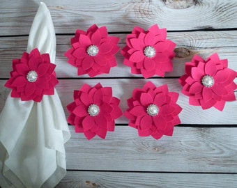HOT PINK napkin rings, fabric flowers with faux white pearls and fabric bands, pink cloth napkin ring, wedding table settings
