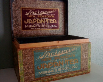 Vintage Wood JAPAN TEA Box CHEST with Galvanized Tin Lining and 2 Paper Labels- Art Papers & Handle Included
