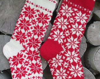Christmas Stocking Personalized Wool Hand knit Cranberry red White with folksy ornaments Christmas decoration Christmas gift