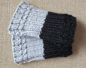 Ready to ship!!Hand knitted 2 ways to wear Women Boot cuffs/leg warmers - gray black .