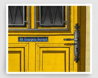 Paris illustration - The door of Mr Durant - Art Illustration Print art print Home decor Architectural drawing Paris facade Yellow