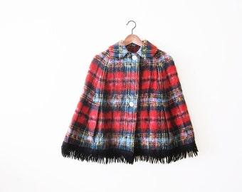 1960s Plaid Cape / Red Tartan Plaid Capelet / Christmas Holiday Clothing / Womens Poncho