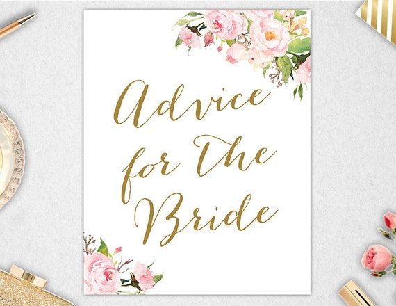 Advice For The Bride Sign INSTANT DOWNLOAD // 8x10 // 5x7