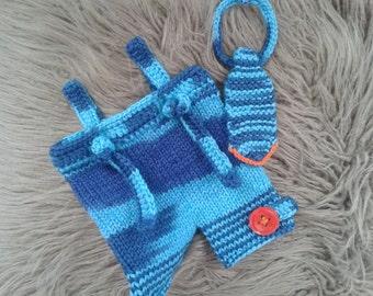 ON SALE!Newborn Boy Photo Prop,Baby Boy hand knitted  Shorts with Suspenders and Necktie  ,Baby  Boy Necktie,Ready to ship