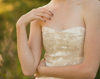 Bridal separates, hand beaded silk bodice  // Rose