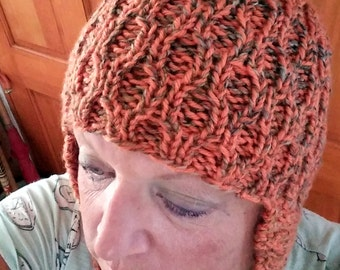 Orange and Tweed ear-flap handknit hat