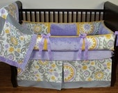 SALE! Custom Modpeapod Lavender Silver yellow Floral Crib Baby Bedding Set ONLY ONE on sale and ready to ship