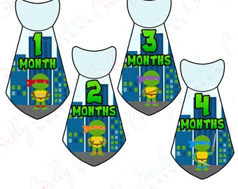 Boy Monthly Baby Stickers, 1 to 12 Months, Monthly Bodysuit Stickers, Baby Age Stickers, Turtle Hero Ties