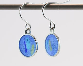 Silver plique a jour enamel, stained glass earrings, blue, yellow and turquoise
