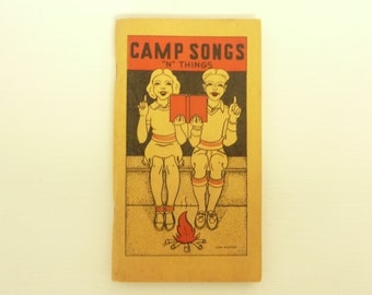 "NICE 1939 Camp Songs ""N"" Things, Boy & Girl Scouts Campfire Camping Song Book - Vintage Travel Trailer Decor"