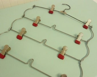 Longer Vintage Rack, RED Rubber Tipped Steel Laundry Hanger, Card Display, Clothes Hanger, Picture Holder, Display Clips