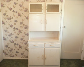 1940s Wooden Hoosier Cabinet w/ Old White Paint, Original Bubbled Glass and Hardware