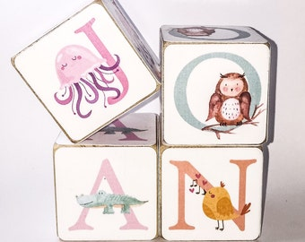 Pastel Animal or Bright Objects Wooden Alphabet Baby Blocks