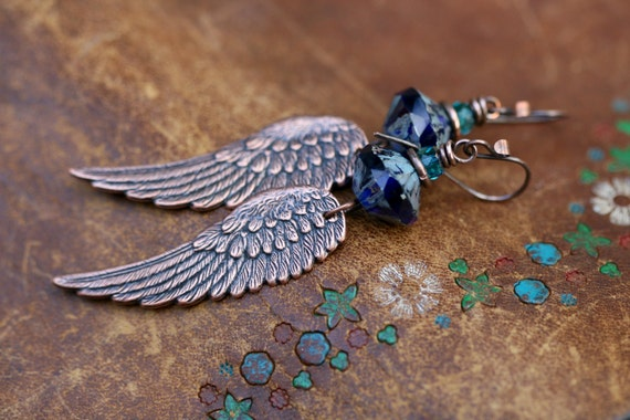 Rustic Bohemian Angel Wings earrings n 215 - antique wings . copper wings . angels . religious . boho jewelry . bohemian earrings . artisan