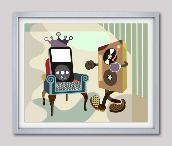 Music Lover Gift, Music Wall Decor, Music Poster, Retro Wall Decor, Cassette Tape, Vinyl Record Poster, Funny Art