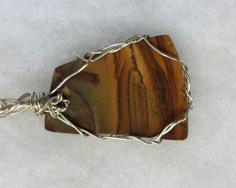 Hand Polished and Wrapped Jasper Pendant