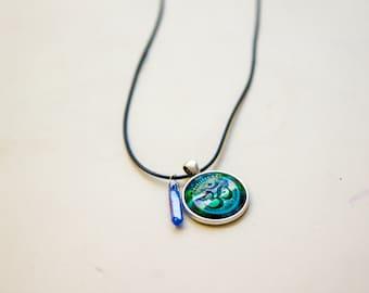 Namaste yoga om necklace with blue quartz