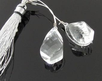 Crystal Quartz Faceted Spiral Briolettes, Set of 2, 10 x 17 mm