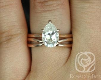Rosados Box Skinny Jane 10x7mm & PLAIN Skinny Lima 14kt Rose Gold Pear F1- Moissanite Tulip Cathedral Wedding Set