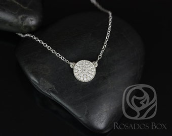 Diskco 7mm 14kt White Gold Diamond Pave Floating Disk Necklace