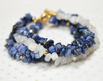 Blue gemstone bracelet Casual sodalite nugget bracelet Chunky cuff bracelet Boho multi strand bracelet Semi precious gem stone jewelry