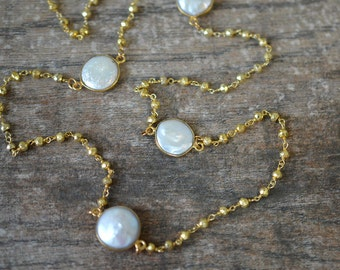 Delicate Necklace White coin pearl station necklace Long gold pyrite beaded rosary chain Single or double strand