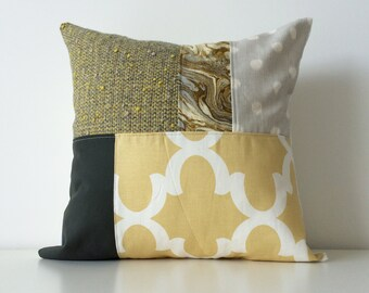 Modern Patchwork Pillow Cover, 16x16, Contemporary Cushion Cover, Ikat Dots, Marble, Mustard Yellow, Greys, Colour Block, Mixed Patterns