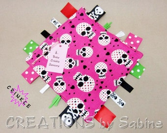 Pink Skull Baby Tag Blanket Toy Security Ribbon Sensory Blanket Girl Sugar Skulls Teething Teether Toys Shower Gift Idea READY TO SHIP (257)