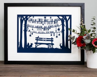 Personalised 'In Loving Memory' Papercut Style Print Bereavement Gift