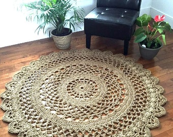Giant crochet doily rug, Giant jute rug, extra large jute rug, 6 foot jute rug, mandala rug, crochet round rug, outdoor rug--READY TO SHIP