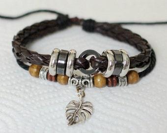 421 Men's brown leather bracelet Leaf bracelet Charm bracelet Men bracelet Beads Braided bracelet Women jewelry Gift For women and men