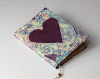 Heart Journal, diary, notebook, old, dyed paper, batik fabric, blank book, antique book, travel journal