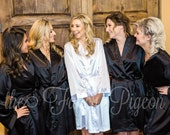 WEDDING ROBE - Black Satin Robes - Silk Robe - Bridal Party Robes - Wedding Robes - Bridesmaid Gifts - Bride Robe - Satin Robe - Kimono Robe