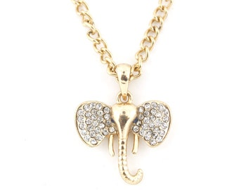 Exquisite Gold-tone Crystal Elephant Head Pendant Necklace,A15