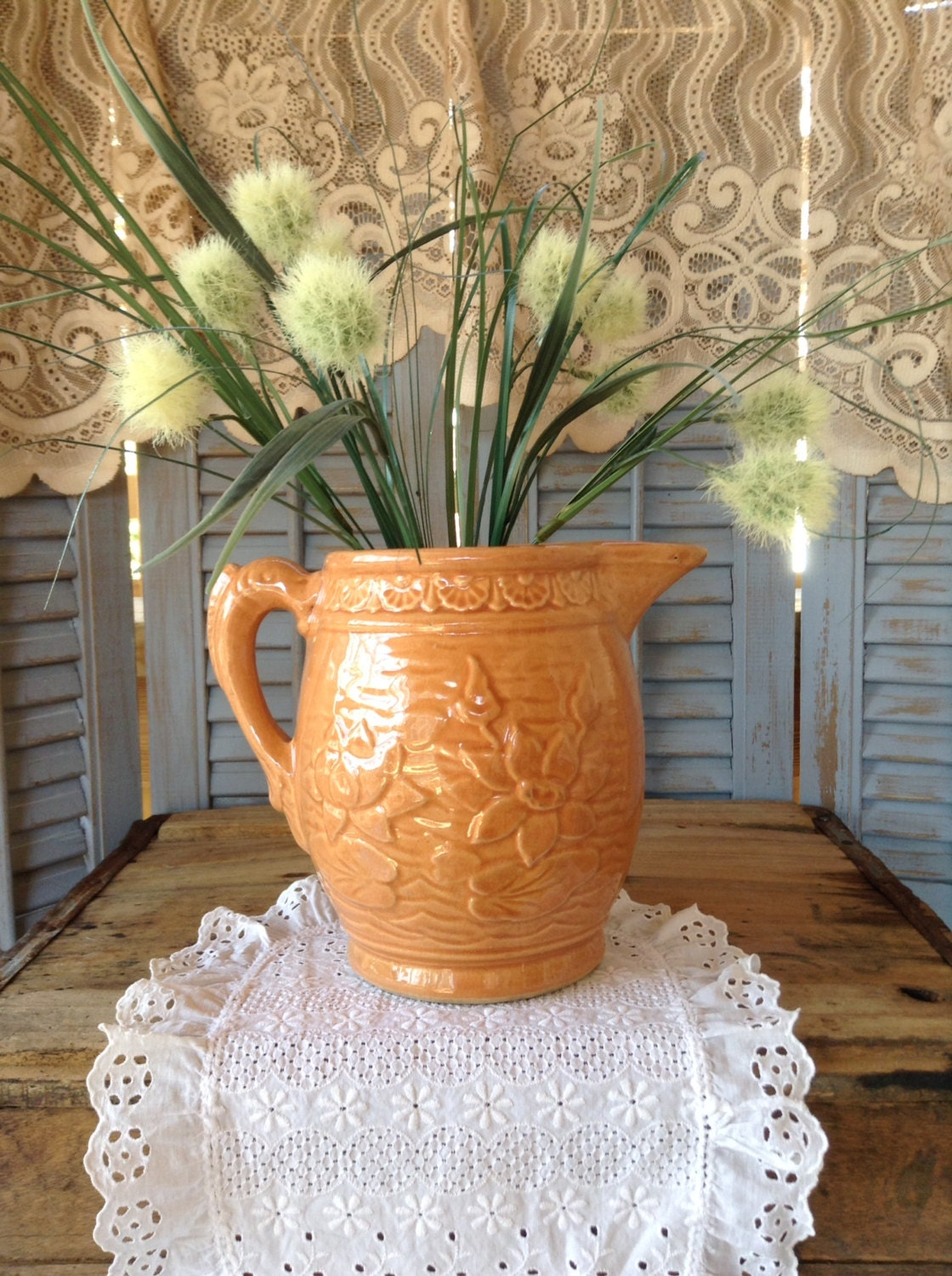 Mccoy Pottery Pitcher Water Lily Pattern With Fish Handle