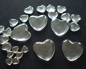 Glass Heart Cabochons Wholesale, Hand-Cut and Fired, Crystal Clear Colorless Glass, transparent glass covers