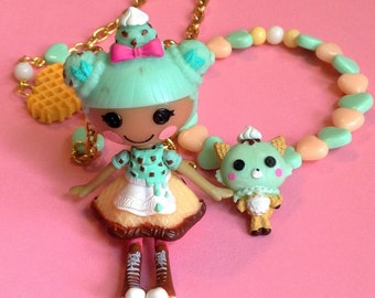 Lalaloopsy Scoops Waffle Cone Doll Necklace and Ice Cream Kitty Cat Stretch Bracelet with Mint and Peach Hearts