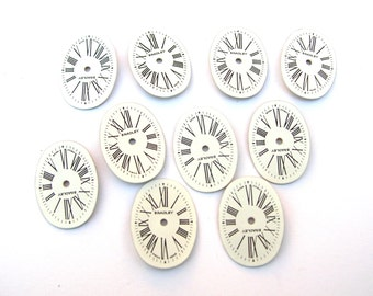 10 Porcelain Watch Faces - Oval Watch Face Lot - Steampunk Supplies - Oval Watch Faces - Roman Numeral Watch Face
