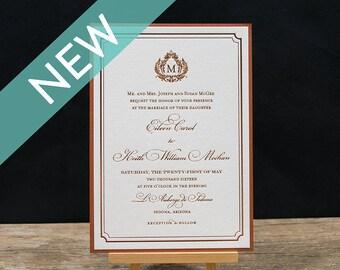 Royal Letterpress Wedding Invitation Suite - DEPOSIT