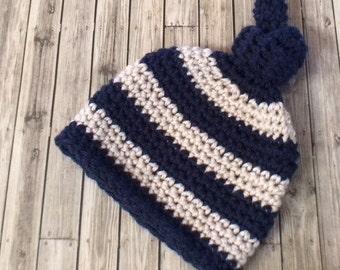 Newborn Striped Beanie Hat, Crochet Hat, Baby Hat, Newborn Hat, Striped Hat, Baby Boy Hat, Photo Prop