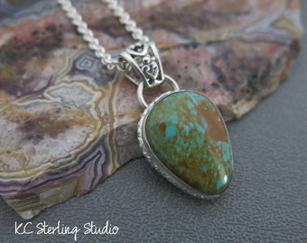 Natural Royston turquoise metalsmith pendant necklace with sterling silver