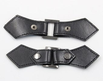 2 pcs 6.10*1.53 inch Black Leather Snap Clasp Buckle Hook and Eye Buttons for Mink Fur Coats