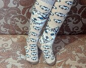 Woolen Women's Knit High Knee Socks With Ornament Husky Dog - Warm Feet on Cold Winter - Best Price