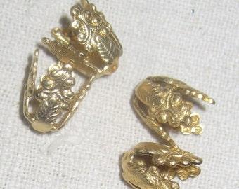 Filigree Raw Brass 12MM x 9MM Bead Caps Victorian Style Wraps