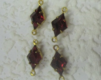 Ruby, Red, Swarovski Crystal, 15MM, Multi Faceted, Rhinestone, KITE, Diamond, In Brass, 4 Prong, Setting, Connector,