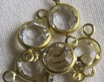 Crystal Clear 13MM Channel Crystal Round Rhinestone Brass 2 Ring Connector